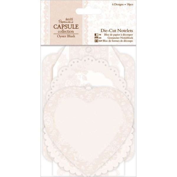 Papermania Oyster Blush Die-Cut Notelets 18/Pkg