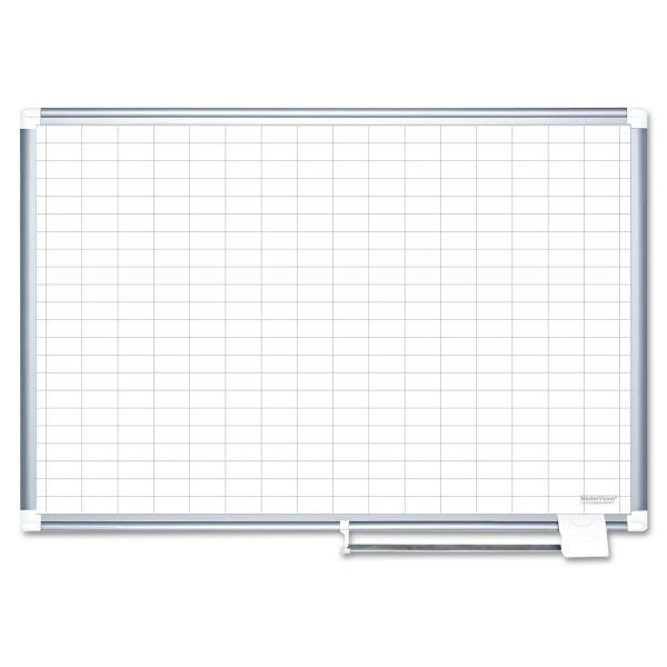 "MasterVision MasterVision Grid Platinum Plus Dry Erase Board, 1x2"" Grid, 24x36, Silver"