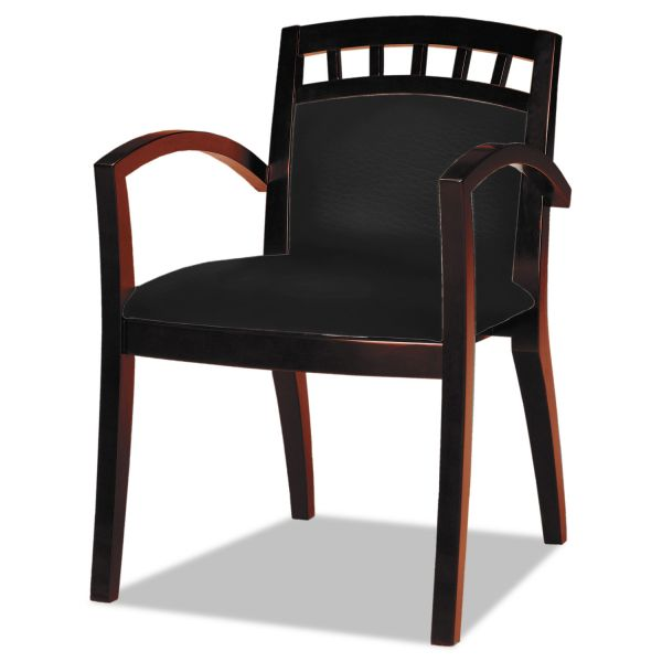 Mayline Mercado Series Arch-Back Wood Guest Chair, Mahogany/Black Leather