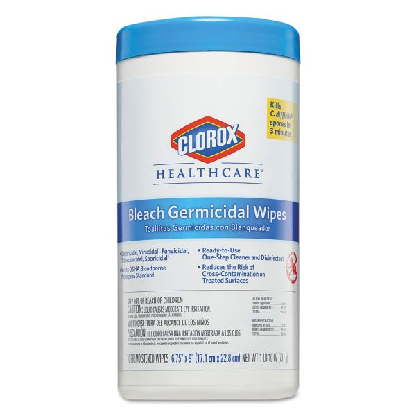 Clorox Healthcare Bleach Germicidal Wipes, 6 3/4 x 9, Unscented, 70/Canister