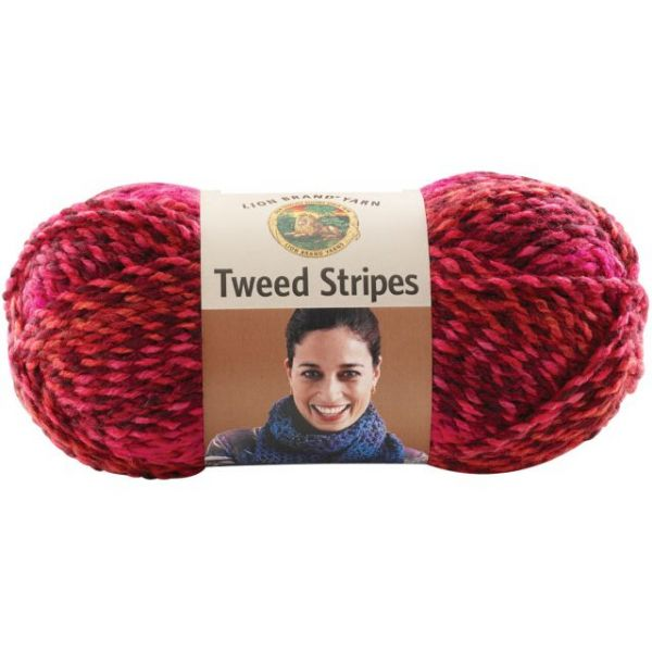 Lion Brand Tweed Stripes Yarn - Mixed Berries