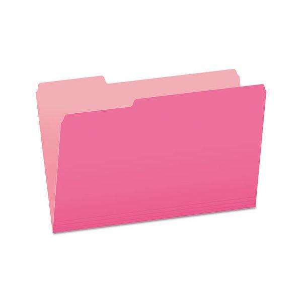 Pendaflex Colored File Folders, 1/3 Cut Top Tab, Legal, Pink/Light Pink, 100/Box