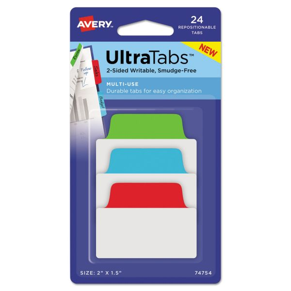 Avery Ultra Tabs Repositionable Tabs, 2 x 1 1/2, Primary: Blue, Green, Red, 24/Pack