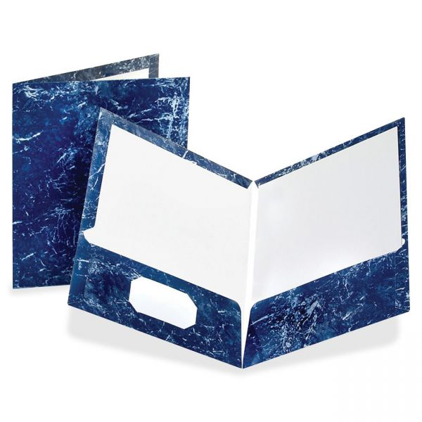 Oxford Marble Laminated Navy Two Pocket Folders