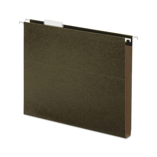 Universal One Inch Box Bottom Pressboard Hanging Folder, Legal, Standard Green, 25/Box