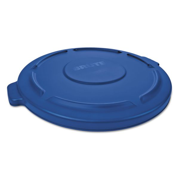 """Rubbermaid Commercial Round Flat Top Lid, for 44-Gal Round Brute Containers, 24 1/4"""", dia., Blue, 4/CT"""