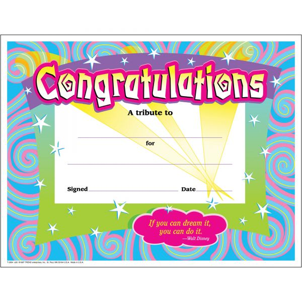 Trend Congratulations/Swirls Award Certificates