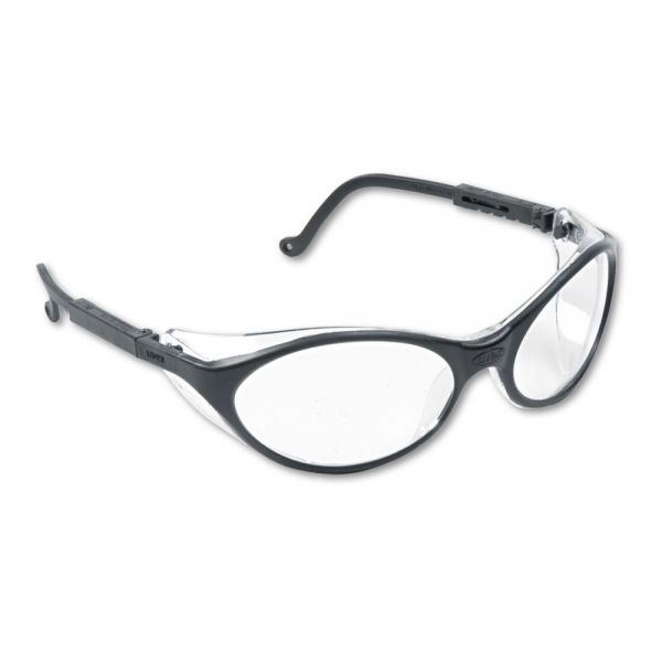 Uvex by Honeywell Bandit Wraparound Safety Glasses, Black Nylon Frame, Clear Lens