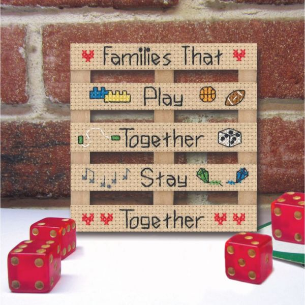 Wood Pallet Families Counted Cross Stitch Kit
