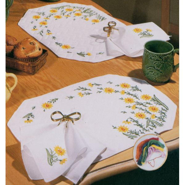 Stamped White Place Mats & Napkins For Embroidery