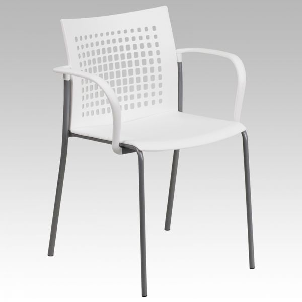 Flash Furniture HERCULES Series 551 lb. Capacity White Stack Chair with Air-Vent Back and Arms