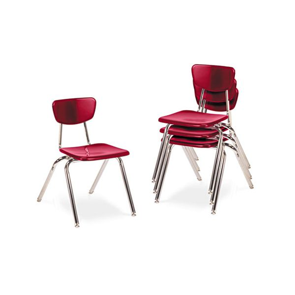 "Virco 3000 Series Classroom Chairs, 16"" Seat Height, Red, 4/Carton"