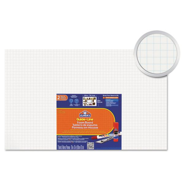 Elmer's Guide-Line Paper-Laminated Polystyrene Foam Display Board, 20 x 30, White