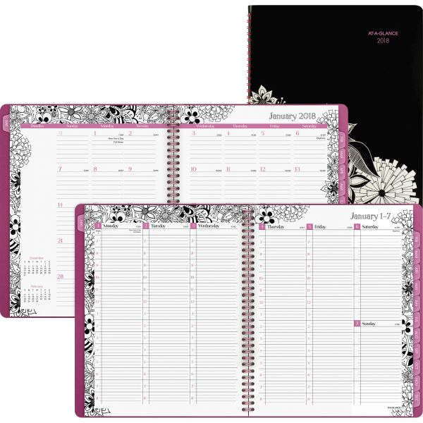 AT-A-GLANCE Floradoodle Professional Weekly/Monthly Planner, 9 3/8 x 11 3/8, 2018-2019