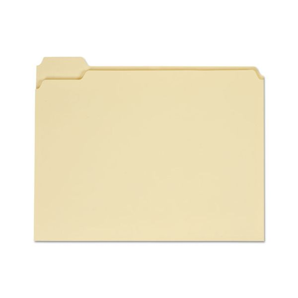 Universal File Folders, 1/5 Cut Assorted, One-Ply Top Tab, Letter, Manila, 100/Box