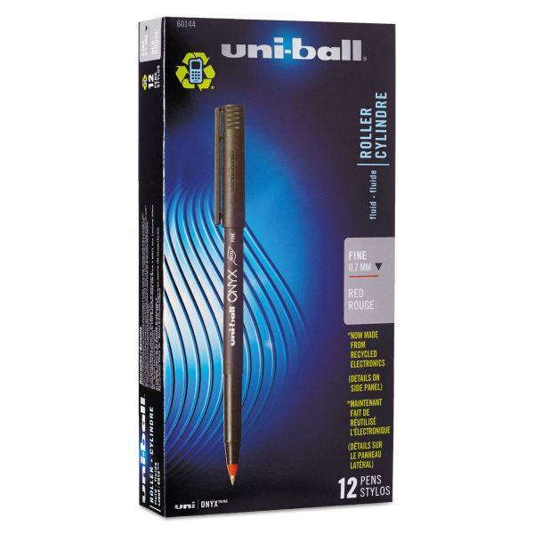 uni-ball Onyx Roller Ball Stick Dye-Based Pen, Red Ink, Fine, Dozen