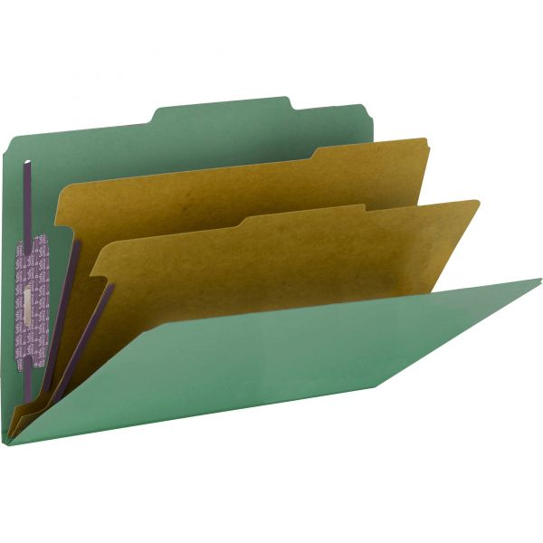 Smead 2-Divider PressGuard Classification Folders with SafeSHIELD Fasteners