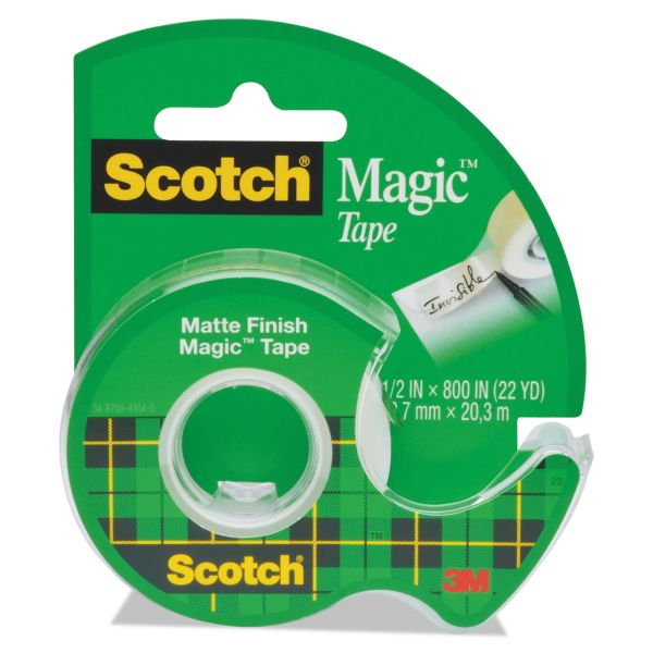"Scotch Magic Tape in Handheld Dispenser, 1/2"" x 800"", 1"" Core, Clear"