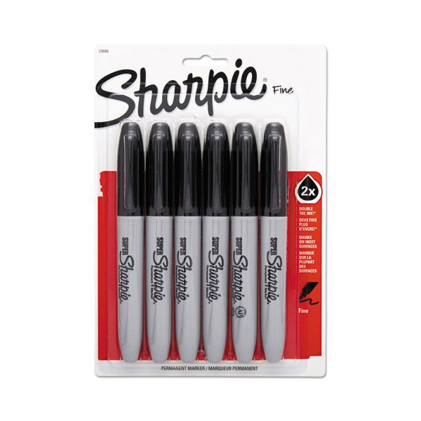 Sharpie Super Permanent Markers, Fine Point, Black, 6/Pack