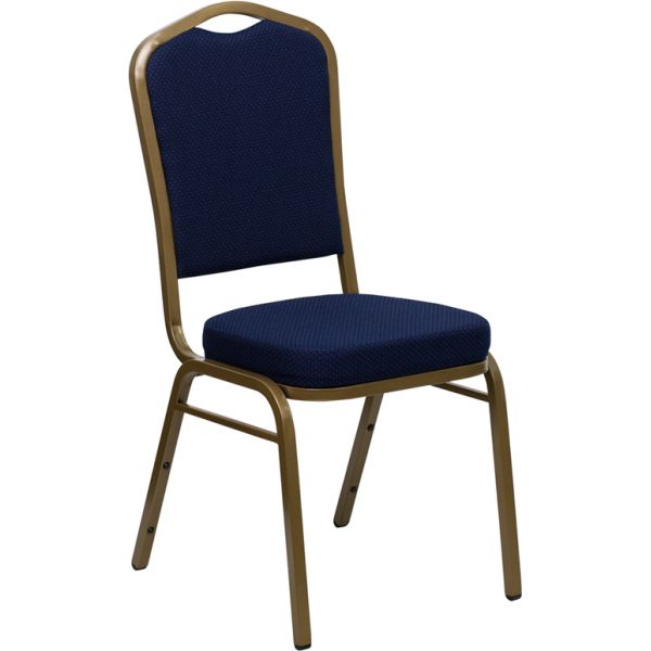Flash Furniture HERCULES Series Crown Back Stacking Banquet Chair with Navy Blue Patterned Fabric and 2.5'' Thick Seat - Gold Frame