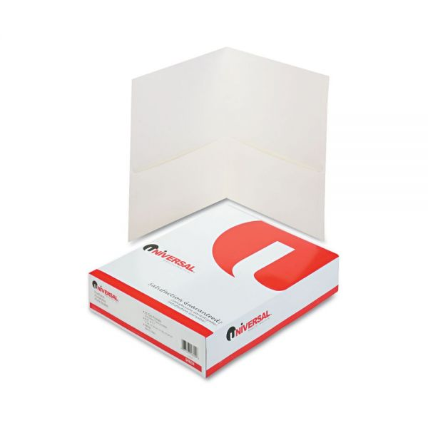 Universal White Two Pocket Folders