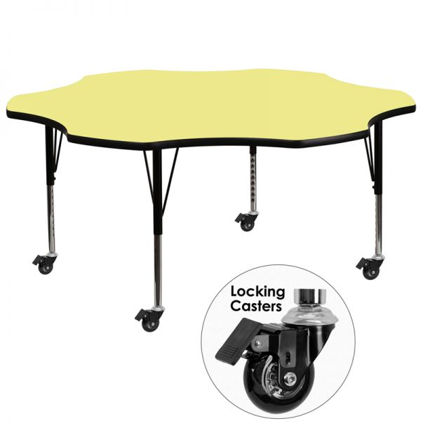 Flash Furniture Mobile Height Adjustable Flower Shaped Activity Table