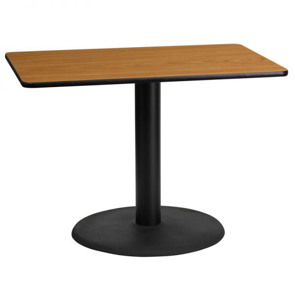 Flash Furniture 24'' x 42'' Rectangular Natural Laminate Table Top with 24'' Round Table Height Base