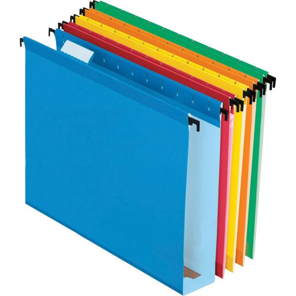 """Pendaflex Poly Laminate Hanging Folders, 1/5 Tab, 2"""" Expansion, Letter, Assorted, 20/Box"""