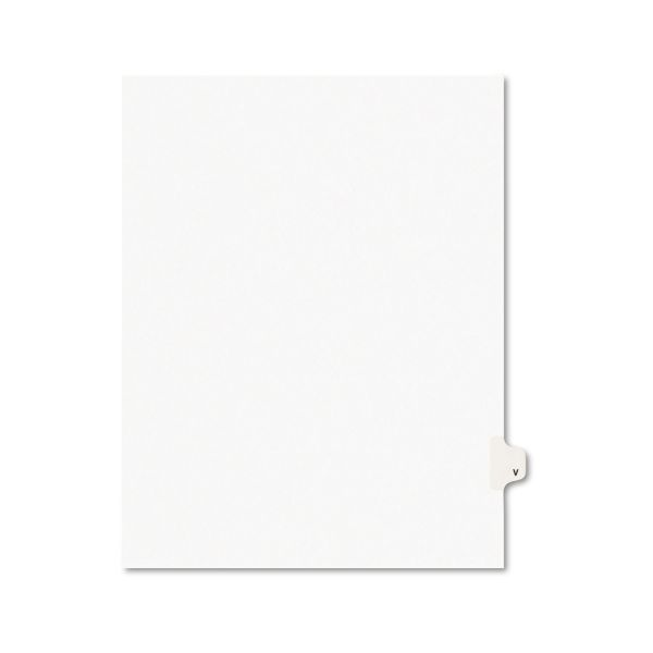 Avery-Style Legal Exhibit Side Tab Dividers, 1-Tab, Title V, Ltr, White, 25/PK
