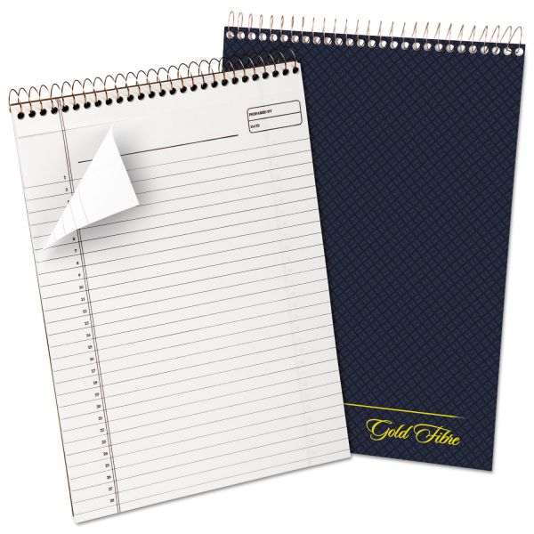 Ampad Gold Fibre Wirebound Writing Pad w/Cover, 8 1/2 x 11 3/4, White, Navy Cover