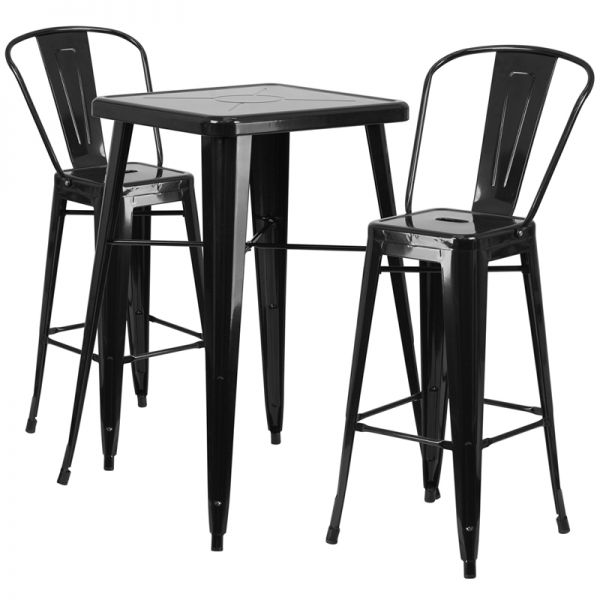 Flash Furniture 23.75'' Square Black Metal Indoor-Outdoor Bar Table Set with 2 Barstools with Backs