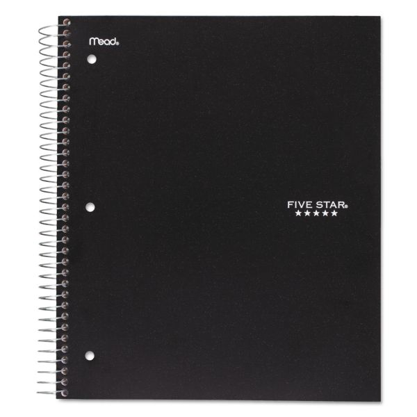Five Star Wirebound Notebook, College Rule, 11 x 8 1/2, 100 Sheets, Black