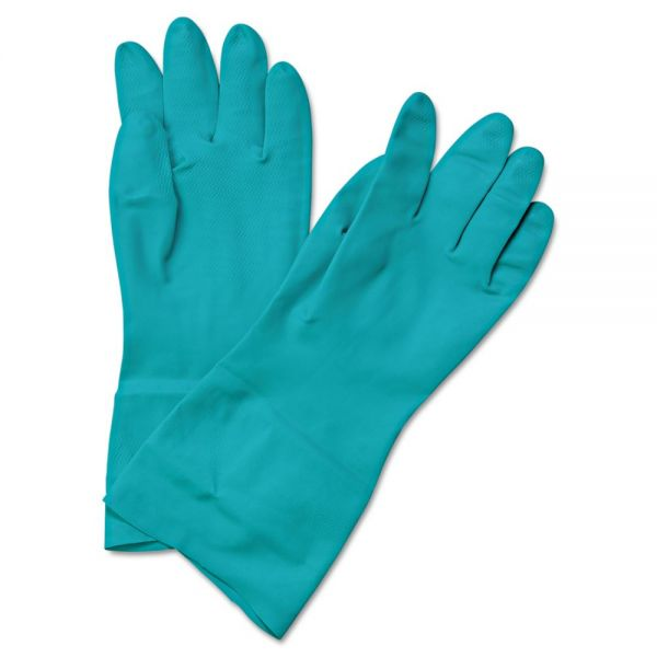 Boardwalk Flock-Lined Nitrile Gloves, 2X-Large, Green, 1 Dozen