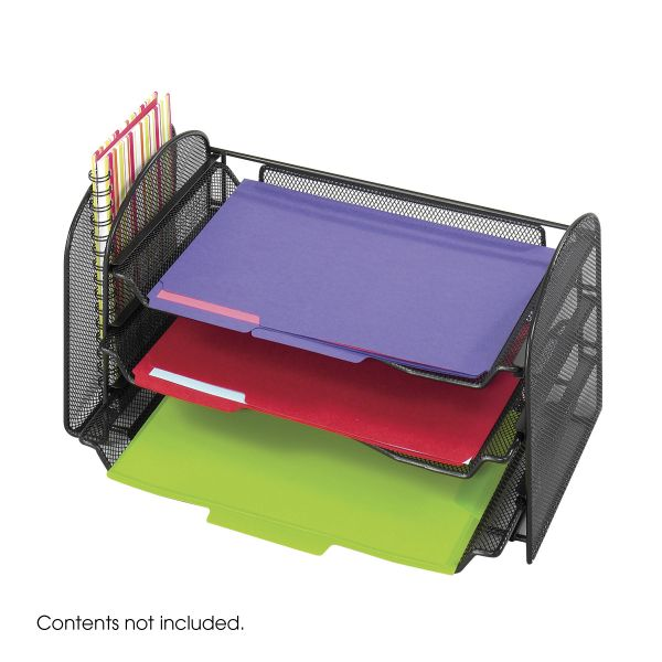 Safco Mesh Desktop File Organizer with Sliding Trays