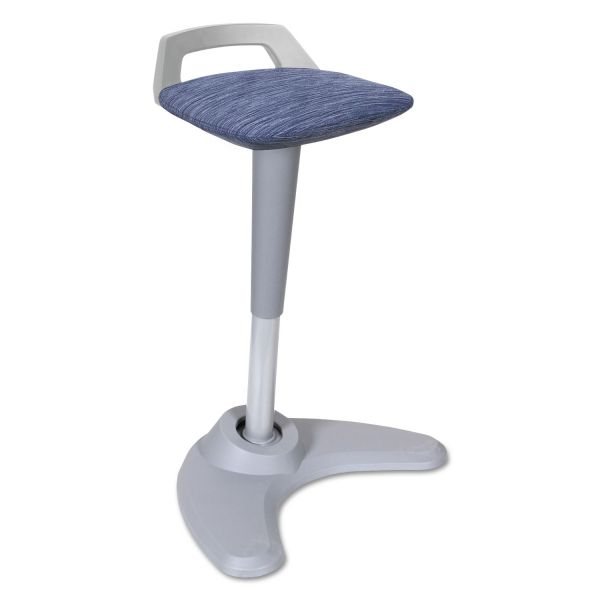 Alera Sit to Stand Perch Stool, Blue with Silver Base