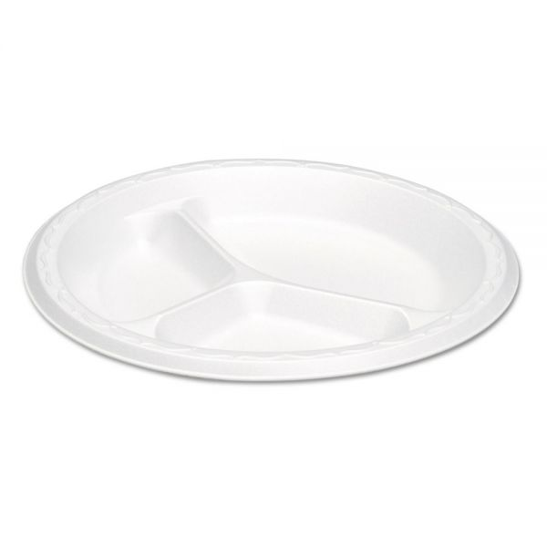 Genpak Elite Laminated Foam Plates, 8.88 Inches, White, Round, 3 Comp, 125/PK, 4 PK/CT