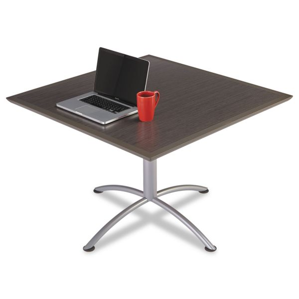 Iceberg iLand Table, Dura Edge, Square Seated Style, 42w x 42d x 29h, Gray Walnut/Silver