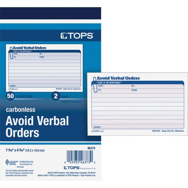 TOPS Order/Avoid Verbal Orders, 7 x 4-1/4, Carbonless Duplicate, 50 Sets/Book