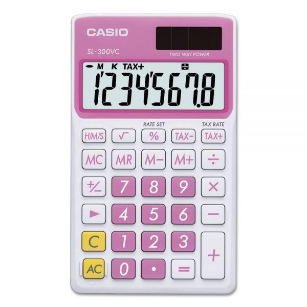 Casio SL-300SVCPK Handheld Calculator, 8-Digit LCD, Pink