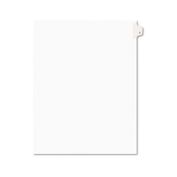 Avery-Style Legal Exhibit Side Tab Divider, Title: 1, Letter, White, 25/Pack