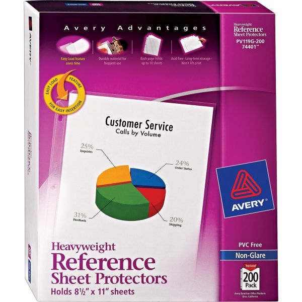 Avery Top-Load Poly Sheet Protectors, Letter, Heavyweight, Nonglare, Clear, 200/Box