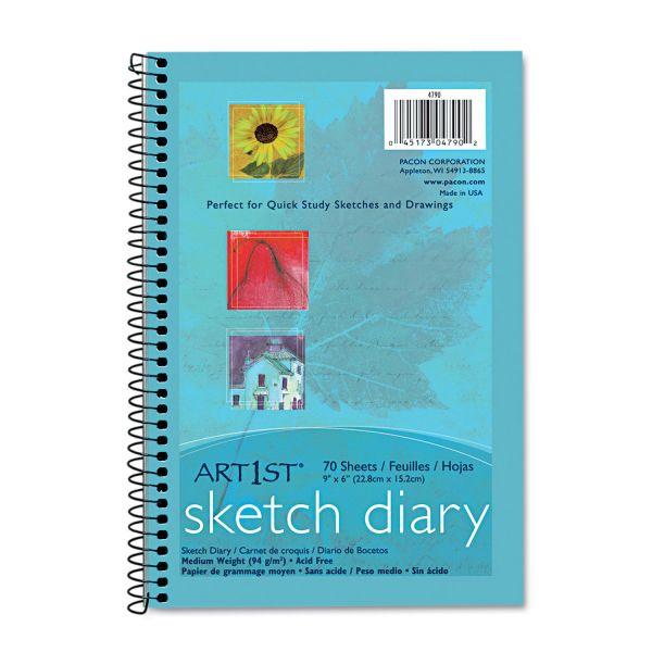 Pacon Art1st Sketch Diary, 9 x 6, White, 70 Sheets