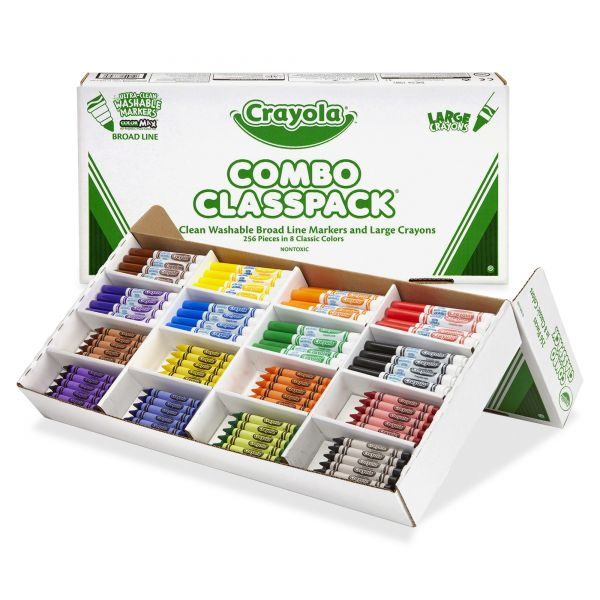 Crayola Large Size Crayons and Washable Markers Combo Classpack