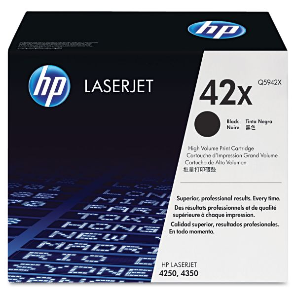 HP 42X, (Q5942X) High Yield Black Original LaserJet Toner Cartridge