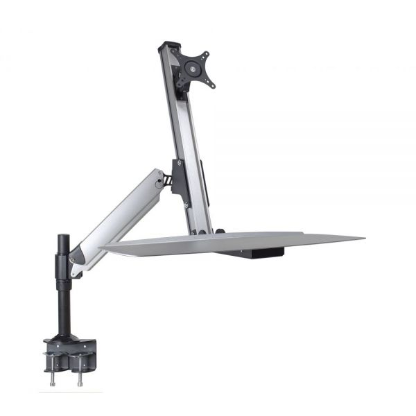 "DoubleSight Displays DS-ERGO-100 Ergonomic Sit/Stand Monitor Arm and Keyboard Tray Desk Mount up to 30"" Monitor - 24"" lb Support"