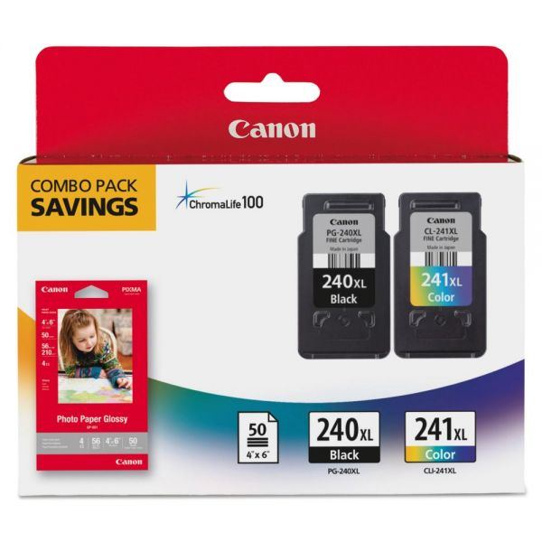 Canon PG-240XL Black/CL-241XL Color High-Yield Ink Cartridges (5206B005)