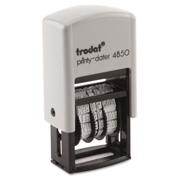 Trodat Self-Inking Message Dater, Four Bands, 3/4 x 1, Black