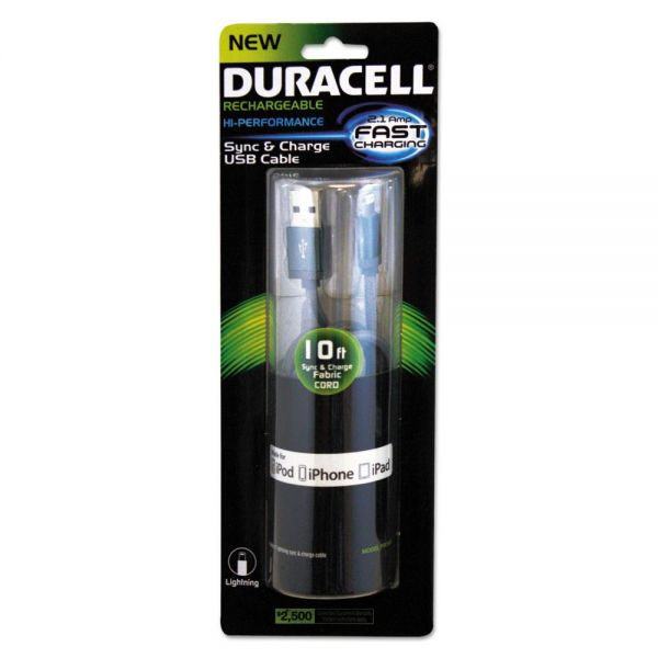 Duracell Sync And Charge Cable, Micro USB, iPhone, 10 ft