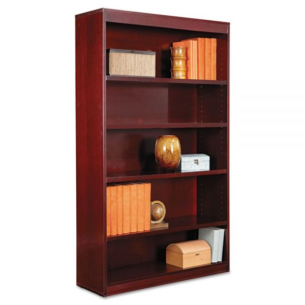 Alera Square Corner Wood Veneer Bookcase, Five-Shelf, 35-5/8 x 11-3/4 x 60, Mahogany