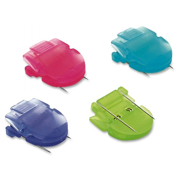 Advantus Fabric Panel Wall Clips, Standard Size, Assorted Cool Colors, 4/Pack